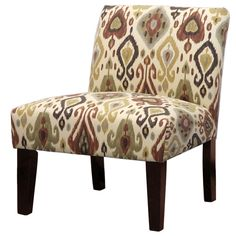 This stylish accent chair boasts unique flair with its ikat design in beige and green hues. Featuring a wood frame, this chair is complete with button tuft details.- Living Room Chairs