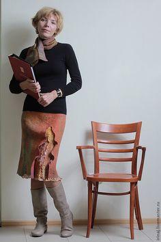 Юбки ручной работы. Ярмарка Мастеров - ручная работа. Купить Юбка. Handmade. Коричневый, юбка войлочная, юбка теплая, мультиколор