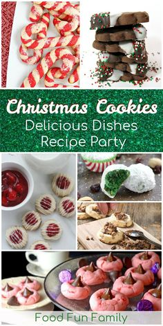 Festive Christmas cookies - perfect for sharing and cookie plates! A Delicious Dishes Recipe Party collection with Food Fun Family Christmas Sweets Recipes, Holiday Snacks, Holiday Cookies, Christmas Baking, Holiday Recipes, Christmas Nails, Christmas Crafts, Delicious Cookie Recipes, Most Delicious Recipe