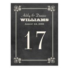 Wedding Table Number Card | Vintage Chalkboard