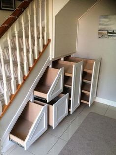 32 Nice Understairs Storage Design Ideas - When home owners think about updating their stairs and hallway, they tend to focus only on tasks such as replacing the stair balustrade, handrails, sp. Staircase Storage, Hallway Storage, Attic Storage, Office Storage, Bedroom Storage, Entryway Stairs, Hallway Closet, Attic Staircase, Spiral Staircases