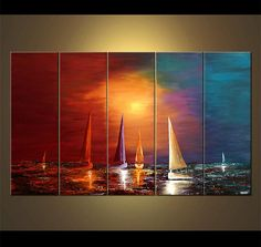 Colorful Sailboats Painting Original Abstract Seascape Acrylic
