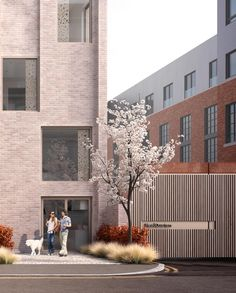 Annabelle Tugby Architects // MDC Visual. New build mews house. Contemporary cor-ten and timber gate. Bronze windows, perforated metal panels, pink brick, recessed elevational detail. External elevation.