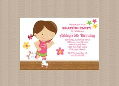 Roller Skating Birthday Party Invitation Girl Skater by Honeyprint