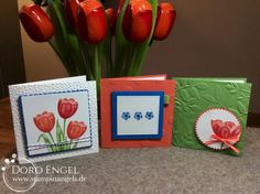 Card, Tranquil Tulips, Calypso, Pacific Blue, Wasabi Green