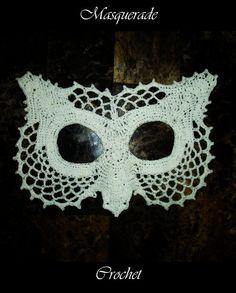 Items similar to Lace Owl Masquerade Mask Crochet Pattern PDF Costume Dress Up Photo Prop Fantasy on Etsy Crochet Mask, Knit Crochet, Half Double Crochet, Single Crochet, Crochet Crafts, Crochet Projects, Cat Masquerade Mask, Crochet Thread Size 10, Crochet Costumes