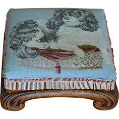 Antique 19C Dog Needlework Stool ~ Cavalier King Charles Spaniel King Charles Spaniel, Cavalier King Charles, Mans Best Friend, Best Friends, Needlepoint Kits, Dog Beds, Little Miss, New Baby Products, Needlework