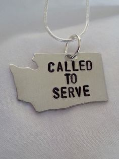 Hand Stamped Called to Serve in Washington Necklace for LDS Mormon Missionaries  #templestamping