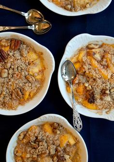 Gluten-Free Peach Crisp; made it last night and it was AMAZING!! Used fresh peaches and made EXTRA topping to cover the peaches completely in a 9x9 dish. Cook 30 minutes. #kombuchaguru #glutenfree Also check out: http://kombuchaguru.com