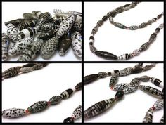Black and White Paper Bead Necklace Handmade by PurpleSmoothie, $17.95