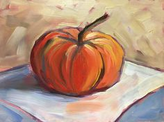 Pumpkin oil painting Pumpkin still life 6 x 8 small kitchen