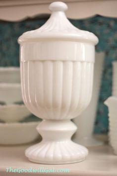 Tall milk glass vase from Goodwill.