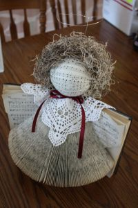 Cute little DIY Angel made from an old hymnal.