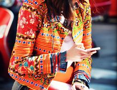 Ethnic patchwork embroidery moto