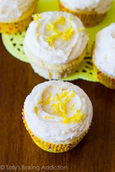 Easy Lemon Cupcakes with Vanilla Frosting, one of my favorites.