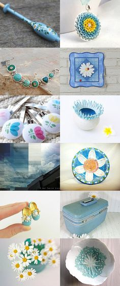 Daisies and blue by F�sun Dokuz on Etsy--Pinned with TreasuryPin.com