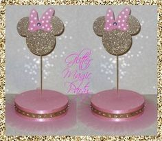 Minnie Mouse Light Pink and Gold - Lollipops or Cakepops Stands - Minnie Mouse Party Decoration - Gold Minnie Mouse - SET OF 2 STANDS by GlitterMagicParty, $55.00 USD