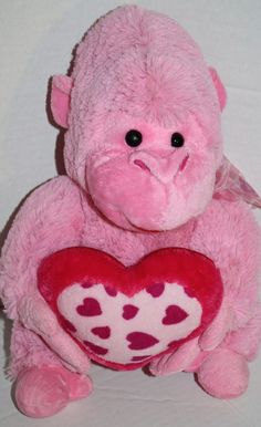 "Fine Toy Pink plush Monkey Gorilla stuffed animal Ape 15"" Valentines heart Bow #FineToy #ValentinesDay"
