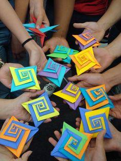 UofA math students made Tomoko Fuse origami spirals