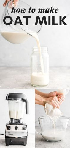 Easy Homemade Oat Milk Recipe - Healthy Oat Milk Recipe – try it in coffee, smoothies, with cereal and for drinking. Healthy Eating Tips, Clean Eating Snacks, Healthy Drinks, Healthy Recipes, Healthy Food, Healthy Meals, Nutrition Drinks, Cheap Recipes, Healthy Desserts