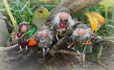 needle / wet felted Acorn Gnomes