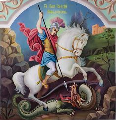 Saint Gourge by on DeviantArt Glass Painting Designs, Paint Designs, Avatar Wan, Kids Sunday School Lessons, Saint George And The Dragon, Church Icon, Order Of The Garter, Catholic Saints, Art Icon