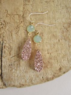 Rose Gold Druzy Earrings Drusy Quartz Sea Green by julianneblumlo, $98.00
