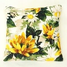 Daisy & Water Lily Vintage Cushion in Yellow & Green
