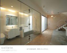 glassed-in bathroom