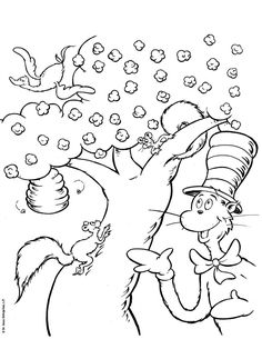The Cat in the Hat Coloring Pages | colouring in | Pinterest | Cat ...