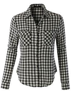 LE3NO Womens Lightweight Plaid Button Down Long Sleeve T Shirt