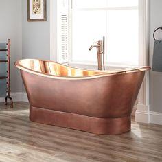 "70"" Thaine Copper Double-Slipper Tub - Polished Interior"