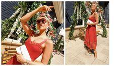 stunning red Maje dress