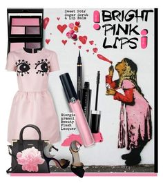 """""""Bright Pink Lipstick"""" by hamaly ❤ liked on Polyvore featuring beauty, Surratt, RED Valentino, Clinique, Calvin Klein, Lipstick Queen, Charlotte Olympia, Chanel, Marc Jacobs and Armani Beauty"""