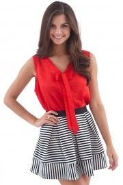 Why Knot Blouse-Red Dress Red