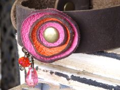 Hot+Pink+and+Orange+Leather+Flower+Bracelet+with+by+jennibjeweled,+$20.00