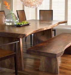 New Natural Wood Table Rustic Benches Ideas Wood Table Rustic, Natural Wood Table, Wood Table Design, Wood Tables, Live Edge Furniture, Rustic Furniture, Dining Decor, Dining Room Table, Dining Rooms