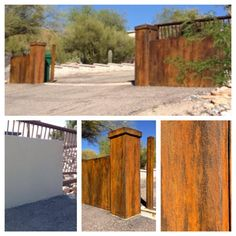 Stucco painted to look like rusted steel using Modern Masters Metal Effects Iron Paint system by Jen Brooks of Tuscon, AZ