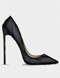 This shoe has very deep shadows and sleek wrapping fabric. The texture placed over the shoe helps to create character.