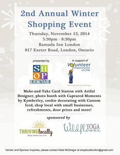 2nd Annual Winter Shopping Event - supporting VOCPRI's 'Operation Santa Claus'.  - 30+ Local Businesses  - Swag Bags for the first 100 shoppers - Raffle Table - Make and take Card Station with @artfuldesigner  - Christmas photo booth with @kymbert   - Cookie Decorating with @customiced   PLUS special guests Princess Cinderella and Jake the Pirate will be with us from 6:30pm to 7:30pm!  #buylocal #toysforkids #ldnont #fundraiser #supportsmallbiz…
