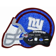 NEW YORK GIANTS CAKE PAN! These lightweight, durable plastic pans can be used exactly like aluminum pans in a conventional oven as well as a microwave. Do not place directly on oven rack, place on shiny cookie sheet for baking. Each pan is designed to hold approximately one bag of cake mix. Bake at 375° F. Complete directions included.