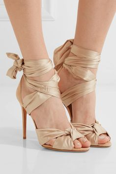 Heel measures approximately 100mm/ 4 inches Taupe silk-satin and suede Ties at ankle Designer color: Cameo Made in Italy