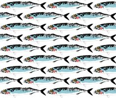 Mackerel_Graphic fabric by squidinkdesigns on Spoonflower - custom fabric