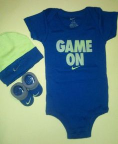 f070d182371 Nike Newborn Baby Boys Onesie Bodysuit Booties Cap Outfit 0 6 Month 3 PC New