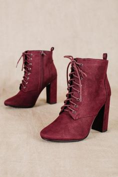 womens lace up suede heeled booties fall fashion trends