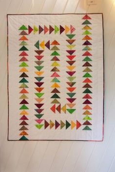 "With 2x4""geese, this is a good size for a baby quilt. About 34x40. Migrating Geese 