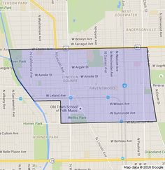 Delineation of the Ravenswood Neighborhood in Chicago, IL