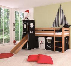 Ce lit surélevé avec toboggan CHATEAU en hêtre européen de haute qualité offrira à votre enfant un couchage 90 x 200 cm. Le toboggan et l'échelle...