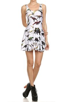 Dinosaur Skater Dress - White