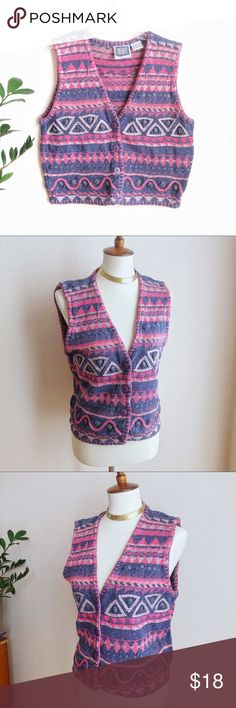 VTG💖90s Sigrid Olsen Retro Sweater Vest! Super sweet vintage sweater vest in great condition! Made by high end designer Sigrid Olsen - high quality & well made! Rad rainbow geometric abstract jammer patterned fabric adorned with matte metal detail throughout. Buttons up the front, hand stitched embellishments on hem & lining. So cute! I love this with a turtleneck & mom jeans! A little faded, but structurally perfect :) Offers welcome! 💖🍒💖   TAGS: Sui Neiman Anthropologie Chico's 80s…